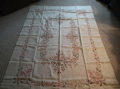 Vintage Hand Cross Stitched Linen Tablecloth In Shades Of Peach And Brown