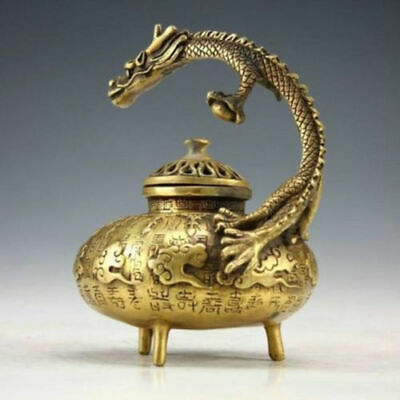 Chinese Old decoration Handwork Carved Dragon Statue Bronze Incense Burners