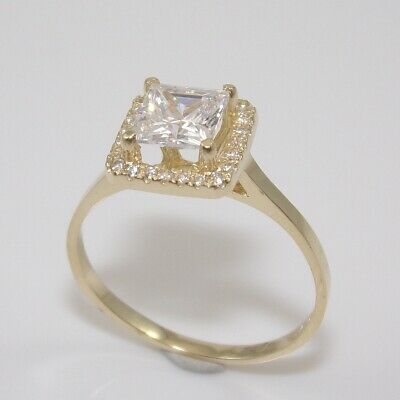 Solid 10K Yellow Gold Clear CZ Halo Ring Size 9 GGI