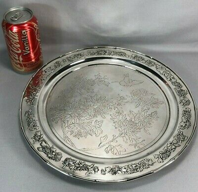 19c Chinese Pure Silver Charger Tray Luen Wo Shanghai Butterfly Chrysanthemums