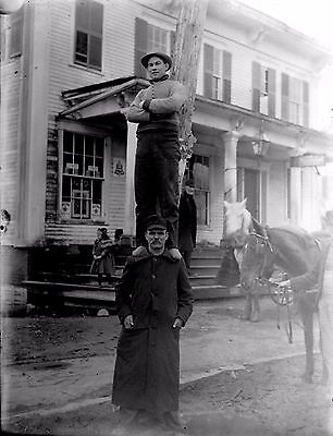 Antique Glass Negative TWO MEN  PYRAMID in Front of the Store 8.5'' x 6.5''