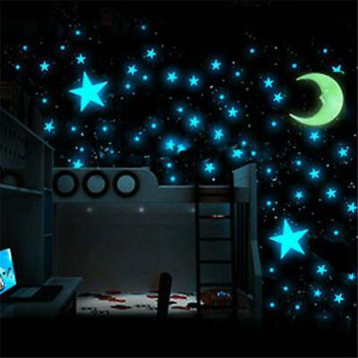 100Pcs Glow in The Dark Real Moon+Stars Stickers Decals Ceiling Wall Bedroom GY