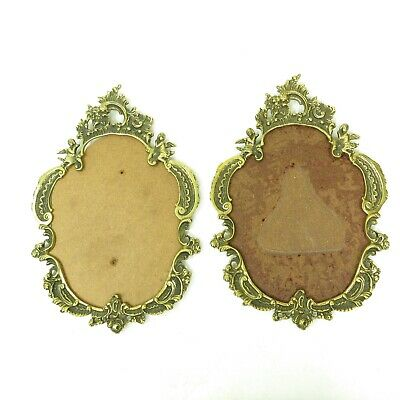 Antique Vtg Pair Cast Brass Hanging Oval Ornate Cherub Angel Picture Frame