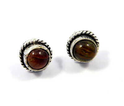 Tiger's Eye .925 Silver Plated Handmade Stud Earring Jewelry JC8216