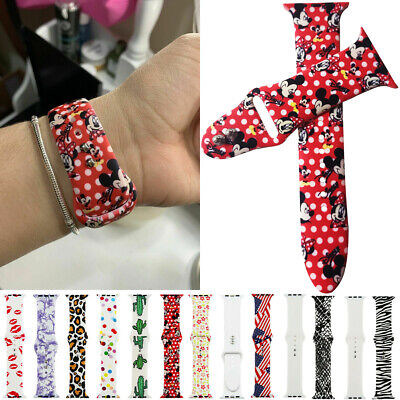Cartoon Mickey Mouse Watch Band Silicone Sport Wrist Strap Apple Series 54 3 2 1