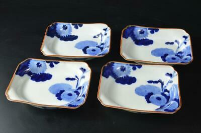 U4952: Japanese Old Imari-ware Blue&White Flower pattern PLATE/Bowl/Dish 4pcs