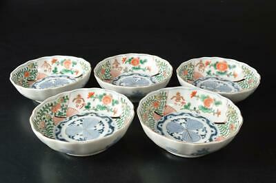 U4950: Japanese Old Imari-ware Flower Arabesque pattern PLATE/Bowl/Dish 5pcs