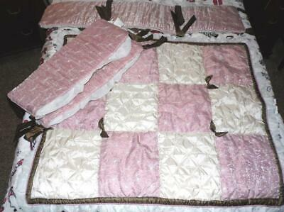 COCALO Baby Daniella Pink,Ivory,Brown Floral Satin Crib Quilt & 3 Bumpers Pads