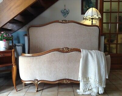 French Demi Corbeille Double Bed Frame - Base & Mattress Included - Gold Beige