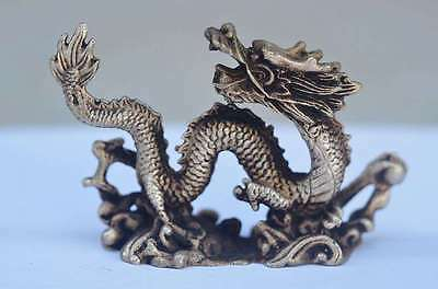 COLLECTIBLE CHINESE old copper plating silver HANDWORK CARVED DRAGON STATUE b01