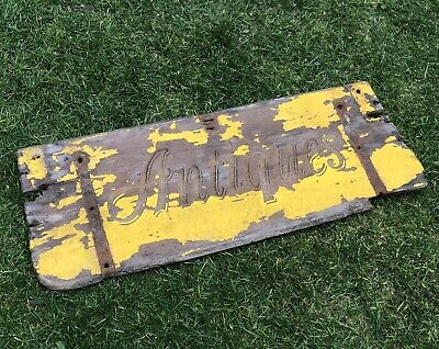 Original Wooden Antique Shop Display Advertising Sign Shabby Rustic Look