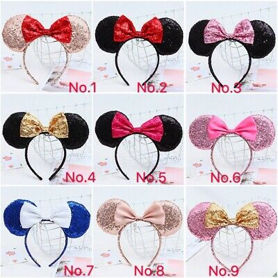 Minnie Mouse Ears Headband  Sparkle Shimmer  Sequin Bow black red pink halloween
