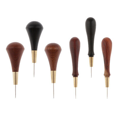 Leather Craft Cloth Awl Tool Pin Sewing Punching Stitch Solid Wooden Handle