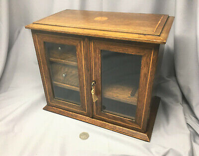 Edwardian table-topSmokers cabinet, with 2 drawers and inlaid decoration