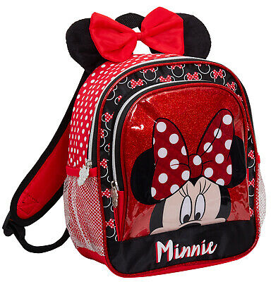 Disney Minnie Mouse Plush 3D Ears Bow Backpack Girls School Rucksack Lunch Bag