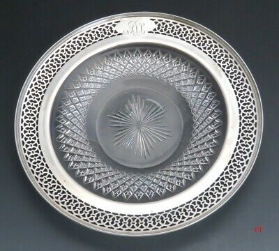 Vintage Watson Sterling Silver & Beautiful Cut Glass Plate