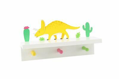 CGB Giftware Wooden Dinosaur Shelf with Pegs - Children's Home Accessories
