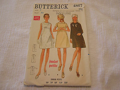Vintage 1960's Butterick 4867 Sewing Pattern A Line Dress Juniors Petite Size 9