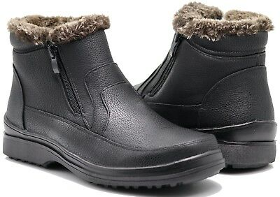 NIB MEN Black Winter Ankle Snow Boots Comfort Zipper Slip On Loafer Boots  RS02