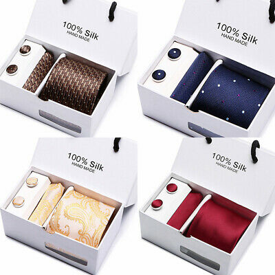Mens Jacquard Woven Silk Neckties Tie+Hanky+Cufflinks Sets Wedding Party NewME