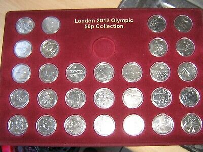 FULL SET OF 29 LONDON  2012 OLYMPICS 50p COINS, COMES IN TRAY+ALL IN CAPSULES