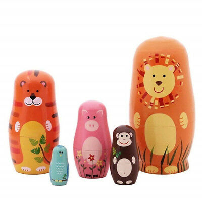 Russian Wooden Hand Painted Nesting Dolls Animals Matryoshka Toys Gifts SI