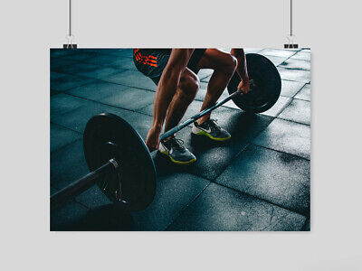 Gym Weightlifting Poster Sport Fitness  Print Image Uk Size A4 A3