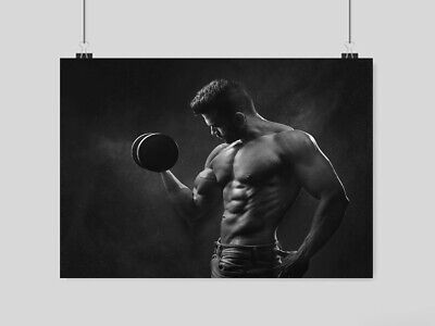 Gym Sexy Guy Man Poster Weightlifting Muscle Six Pack Sport Fitness  Size A4 A3