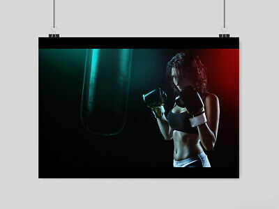 Gym Hot Sexy Girl Poster Boxing Muscle Six Pack Sport Fitness  Size A4 A3