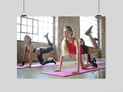Gym Hot Sexy Girls Poster Yoga  Stretching Sport Fitness  Size A4 A3