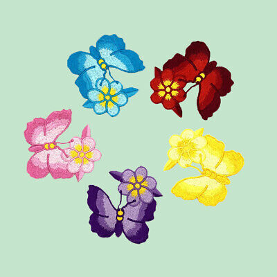 5pcs Embroidered Multicolor Rose Floral Patch Iron on Appliques Trim Decor FT30