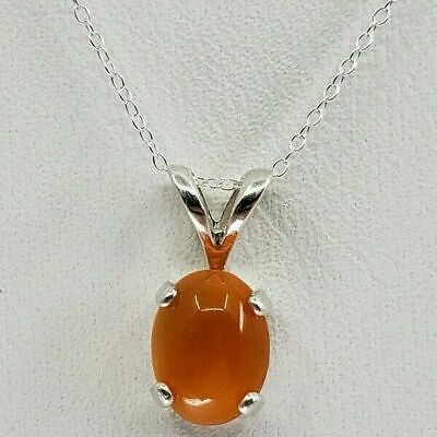 Carnelian Necklace oval cabochon sterling silver