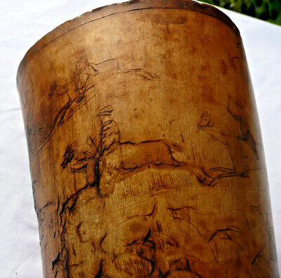 Rare Georgian Antique Engraved Scenes  Hunting Hunt Cow Horn Beaker  / Cup C1820