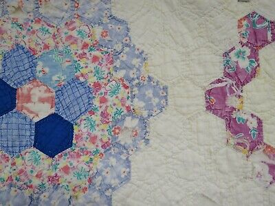 Vintage Antique Quilt Feed Flour Sack Patchwork Floral Throw Distressed 80x67