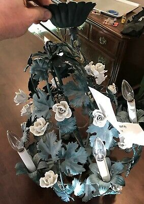 VINTAGE MID CENTURY PAINTED FRENCH TOLEWARE Green Ivy/White Roses CHANDELIER