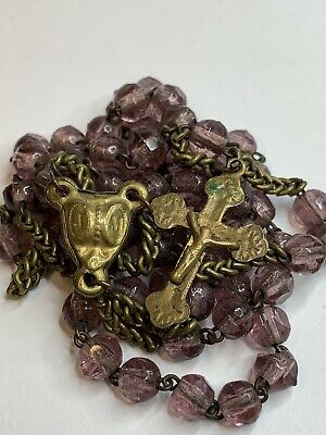 """† Htf 1800S Antique Brass Puffy Center & Purple Glass Delicate Rosary 21 1/2"""" †"""