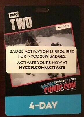 NYCC 2019 New York Comic Con 4 Day Fan Verified Badge/Ticket Oct 3-6 Activated