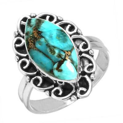 925 Sterling Silver Ring Copper Blue Turquoise Handmade Jewelry Size 11 Cm63708