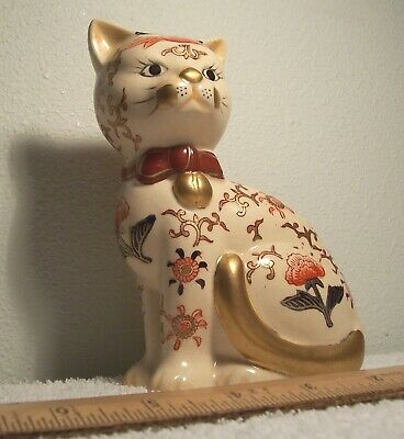 Hand Painted TAKAHASHI Cat Figurine Made in Japan San Francisco gold seal