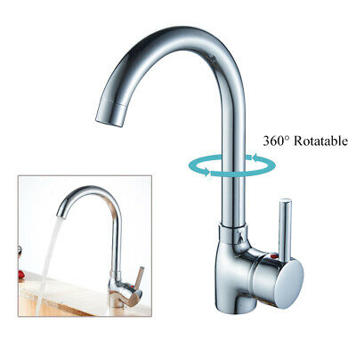 Single Handle Kitchen Faucet in Chrome Finish,Deck Mounted Cold and Hot Water