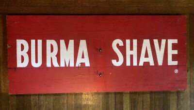 vintage hand-painted BURMA SHAVE cream red road sign 17 x 40
