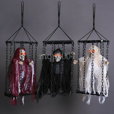Scary Animated Halloween Prop Hanging Caged Ghost Chained Body Skeleton Prisoner