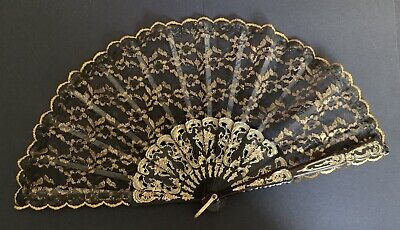 Beautiful Retro Vintage Antique Black and Gold Lace Hand Fan 1950s