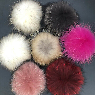 """15cm/6"""" Real Raccoon Fur Ball Pompom W Button Snap On Hat Bag Accessory"""