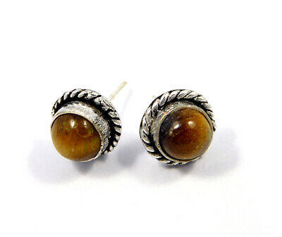 Tiger's Eye .925 Silver Plated Handmade Stud Earring Jewelry JC8193