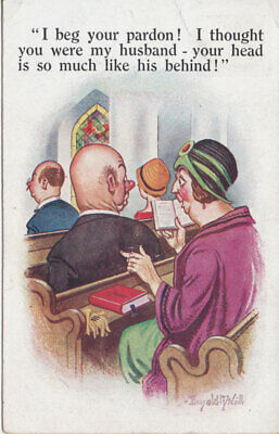 "Vintage Donald McGill postcard #5106 ""Your head is so much like his behind!"""