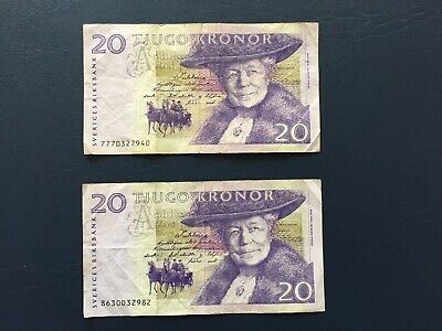 Circulated 20 Denomination Swedish Kronor Bank Note. Ideal For Collection.