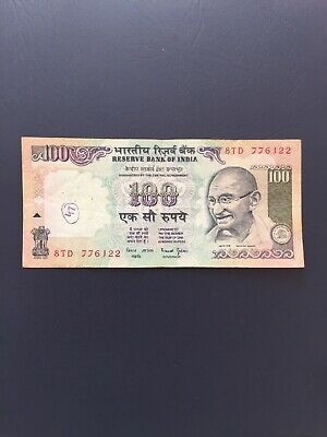 Indian Rupee 100 Denomination Bank Note.Ideal For Note Collection.