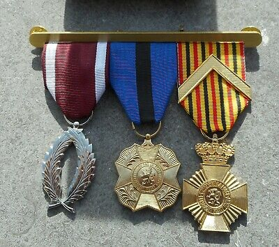 Belgique: Armee Belge - Lot De 3 Decorations Sur Barrette