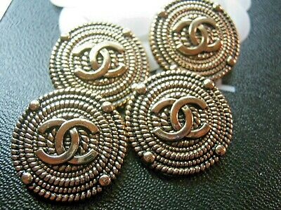 CHANEL 6 BUTTONS antique gold   25 mm , 1 inch metal with  cc logo a set of 6